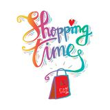 Shopping bag with Shopping time lettering. Poster Stock Images