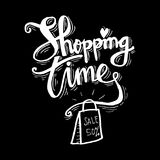 Shopping bag with Shopping time lettering. Poster Royalty Free Stock Photos