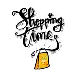 Shopping bag with Shopping time lettering. Poster Stock Image