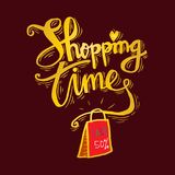 Shopping bag with Shopping time lettering. Poster Stock Photo