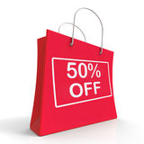 Shopping Bag Shows Sale Discount Fifty Percent. Off 50 stock illustration