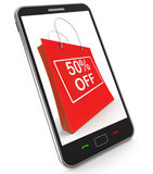 Shopping Bag Shows Sale Discount Fifty Percent Off 50 Stock Photos