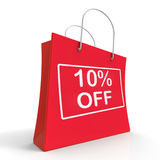 Shopping Bag Shows Sale Discount Ten Percent. Off 10 stock illustration