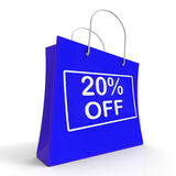 Shopping Bag Shows Sale Discount Twenty Percent. Off 20 vector illustration