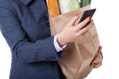 Shopping bag and smartphone Stock Photography