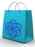 Shopping bag with snowflake Royalty Free Stock Photos
