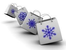 Shopping bag with snowflake Royalty Free Stock Photo