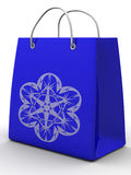 Shopping bag with snowflake Royalty Free Stock Photo