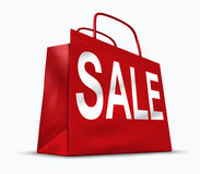 Shopping bag symbol. Red shopping bag with the word sale representing consumer shoppers retail spending habits from malls and shops Royalty Free Stock Photos
