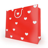 Shopping bag with texture from hearts Royalty Free Stock Photography