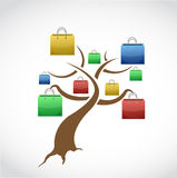 Shopping bag tree. illustration design Stock Photos