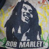 Shopping bag with typically Bob Marley portrait stock images