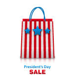 Shopping Bag in USA Patriotic Colors for Presidents Day Sale. Packet Isolated on White Background Royalty Free Stock Images