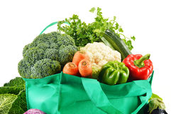 Shopping bag with variety of fresh organic vegetables Stock Image