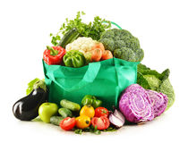 Shopping bag with variety of fresh organic vegetables Stock Photos