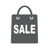 Shopping bag - vector icon. Shopping bag with sale. Flat vector icon illustration EPS 10 Stock Image