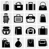 Shopping bag vector icons set on gray. Royalty Free Stock Image