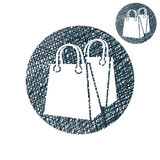 Shopping bag vector simple single color icon isolated on white b Royalty Free Stock Photography