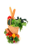 Shopping bag with vegetables royalty free stock photos