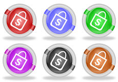 Shopping Bag Web Icon Button. Set of shopping bag with dollar sign web icon buttons with beveled white rims in six pastel colors - red, blue, green, pink, black Royalty Free Stock Photo