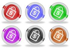 Shopping Bag Web Icon Button Royalty Free Stock Photo