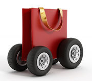 Shopping bag with wheels. Speed delivery concept. 3D illustration Royalty Free Stock Image