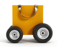 Shopping bag with wheels. Speed delivery concept. 3D illustration Royalty Free Stock Images