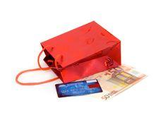 Shopping Bag With Euro Banknotes Stock Photos