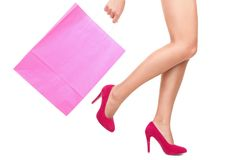 Shopping bag woman copy space Stock Image