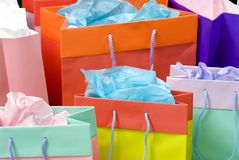Shopping bags 1. Colorful shopping bags full of gifts for someone Stock Photography