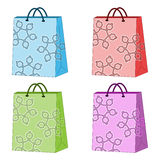 Shopping Bags. Colorful winter shopping bags with snowflakes Royalty Free Stock Photography