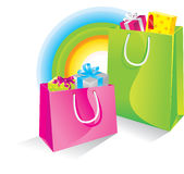 Shopping Bags. Colorful shopping bags with presents Stock Images
