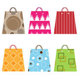 Shopping bags. Collection of six colorful shopping bags isolated on white background.EPS file available royalty free illustration