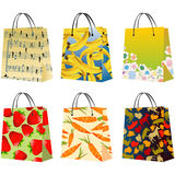 Shopping bags. Collection, isolated objects against white background Stock Photos