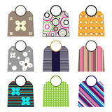 Shopping bags. Collection of nine colorful shopping bags with round handle isolated on white background.EPS file available stock illustration
