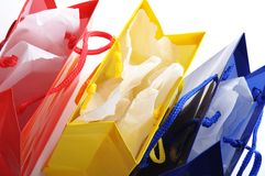 Shopping bags. Colored open bags after a shopping trip Royalty Free Stock Photography