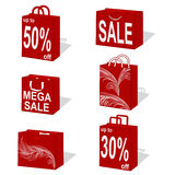 Shopping bags. Bags illustration with wave pattern stock illustration