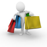 Shopping bags. 3D anonymous man holding shopping bags Royalty Free Stock Photos