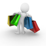 Shopping bags. 3D anonymous man holding shopping bags Stock Images
