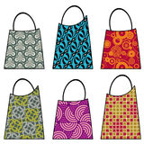 Shopping bags. Array of shopping bags with colorful patterns Royalty Free Stock Photo