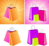 Shopping Bags. In various settings Stock Images