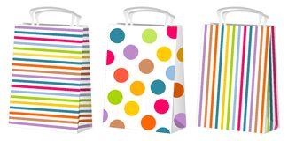 Shopping bags. Illustrtation of three coloured shopping bags decorated with several patterns. Eps file is available Royalty Free Stock Photo