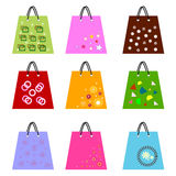 Shopping bags. Collection of nine colorful shopping bags on white background vector illustration