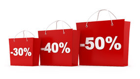 Shopping bags. Render of 3 shopping bags with 30,40,50 percent off stock illustration