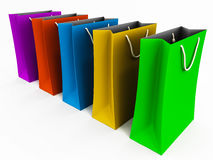 Shopping bags. Colorful shopping bags on white space, concept of holiday and occasional shopping in large quantity royalty free illustration
