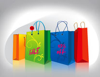Shopping bags. Collection of four shopping bags with different colors vector illustration