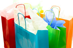 Shopping bags. A shot of a bunch of colorful shopping bags stock photos
