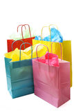 Shopping bags. An isolated shot of colorful shopping bags stock images