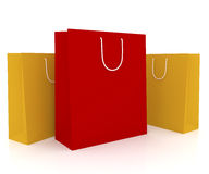 Shopping bags. Three shopping bags isolated on white Stock Image