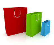 Shopping bags. Three shopping bags isolated on white Royalty Free Stock Images